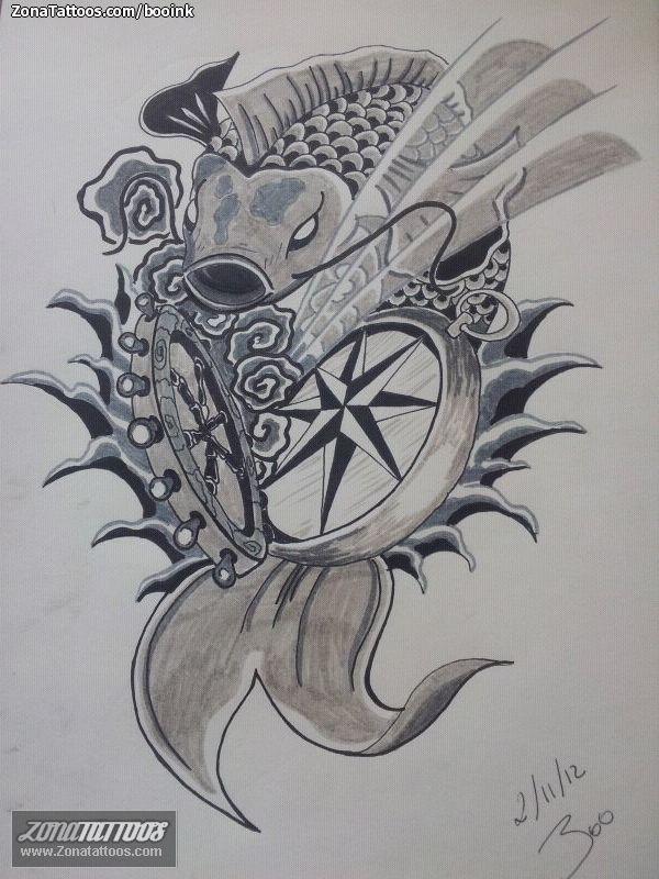 PlantillaDiseo Tatuaje De Booink Koi Timones Rosa Los Vientos