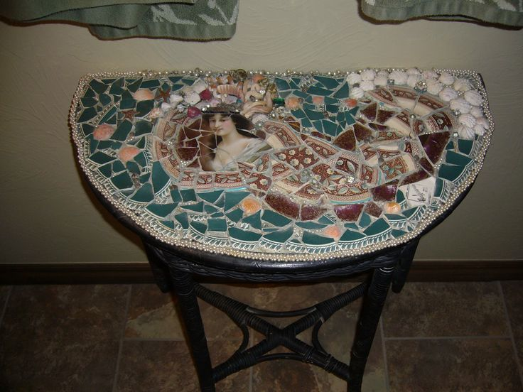 Antique Wicker Table With Mermaid Mosaic Made Out Of