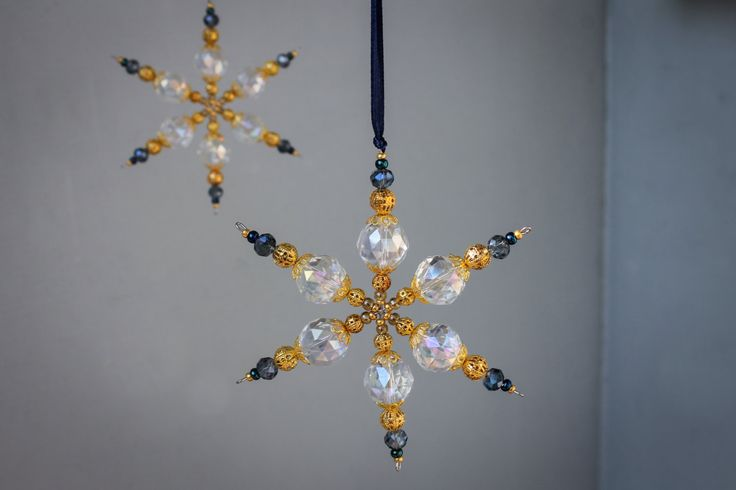 Ornamenti di perline fiocco di neve blu vetro di MapleApple