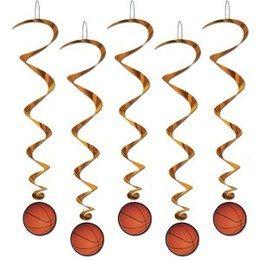 Hangdecoratie Whirls Basketbal -  Vijf hangdecoraties met een basketbal. Lengte: 100cm. Leuk voor tijdens een sport evenement of gewoon als decoratie in een tiener slaapkamer.   www.feestartikelen.nl