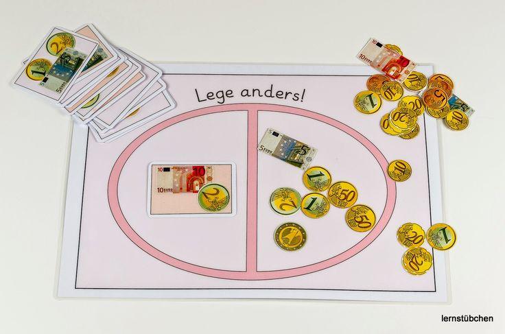 eine gängige Aufgabenstellung,   mit der sich die Kinder immer gerne beschäftigen...     vorgegebene Geldbeträge auf die eine Seite zu lege...