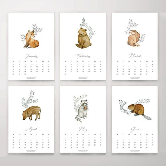Printable Monthly Calendar 2020 Forest Animals Nature Watercolor