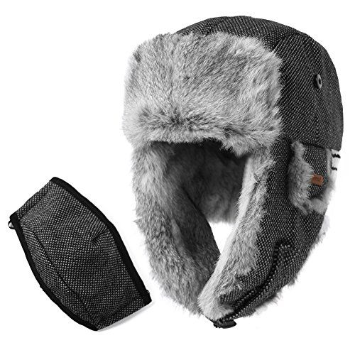 87ed6d325db Trapper Hat Rabbit Fur Aviator Hat with Ear Flaps Russian Winter Cold  Weather Wool Hat with Mask Men Women Black SIGGI     See this great product.