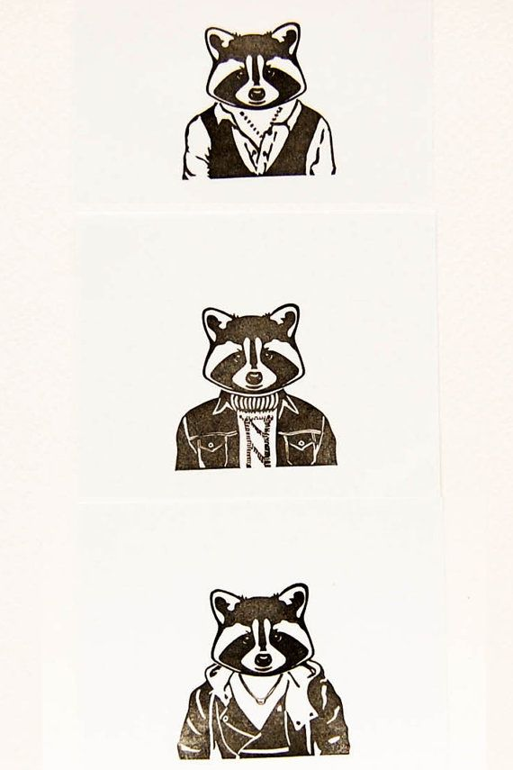 Dudes in Jackets, the Raccoon - Hand carved two-piece stamp set - Realistic raccoon head stamp, animal rubber stamp