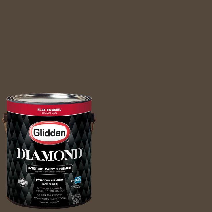 Glidden Diamond 1 gal. #BB-021E Cincinnati Reds Dark Tan Flat Interior Paint with Primer