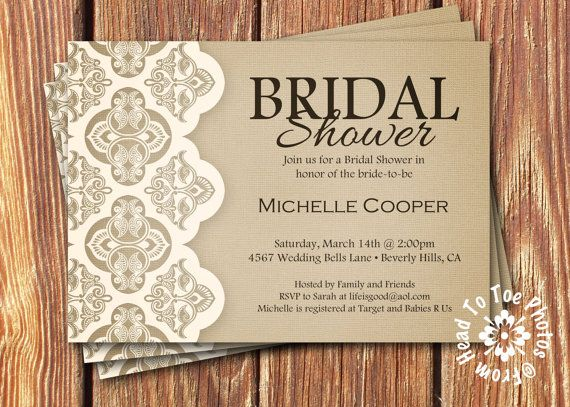 shabby chic bridal shower invitations by fromheadtotoedesigns - Rustic Wedding Shower Invitations