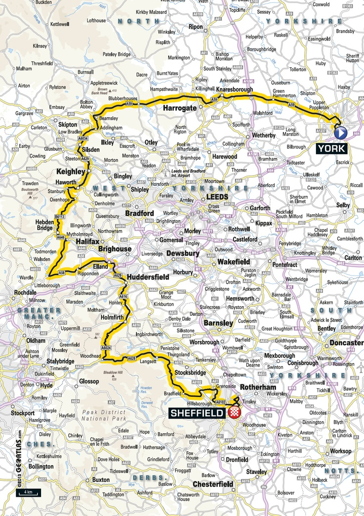 STAGE 2, Sunday 6th July 2014 York to Sheffield: 200KM York - Knaresborough - Silsden - Keighley - Haworth - Hebden Bridge - Elland - Huddersfield - Holmfirth - Sheffield