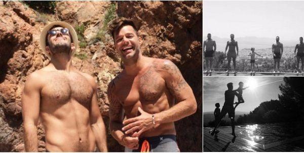 Presume Ricky Martin vacaciones con sus hijos y novio