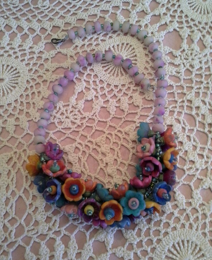 Necklace made with polymer clay.