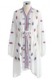Boho Embroidered V-neck Dress in White
