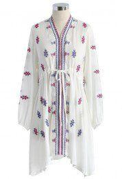 Boho Embroidered V-neck Dress in White