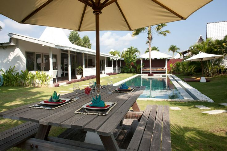 """It is located in #Umalas, about 7 minutes by car or bike from the #beach Kudeta. When you enter the #villa, you can see the wooden structure that typically comes from Javanese houses called """"Joglo"""". #Villacabana has 5 bedrooms: 2 are adjacent to the main room and the other 3 are located in the garden and are on stilts. Pool, 18 meters long, is #awesome! If your holiday home in #Bali, Villa Cabana has seduced you, then book it now, you will not regret it"""