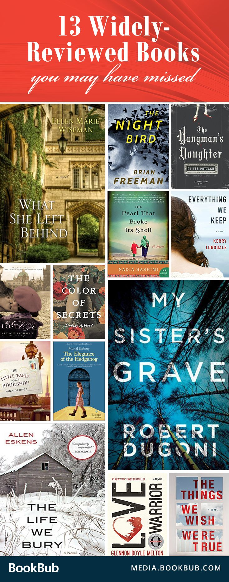 13 widely reviewed books you may not have read yet. From WWII dramas to compelling psychological thrillers, these popular books are worth reading in 2017.