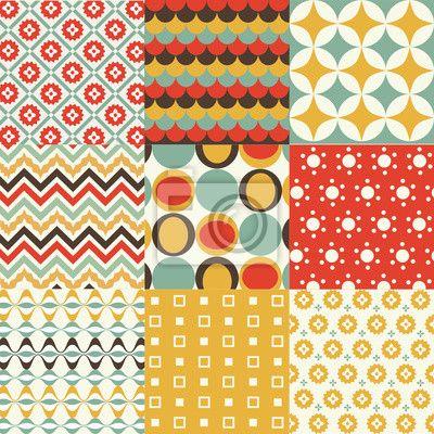"""Papier peint """"papier peint, décoration, rond - rétro seamless pattern"""" ✓ Un large choix de matériaux ✓ Impression écologique 100% ✓ Regardez des opinions de nos clients !"""