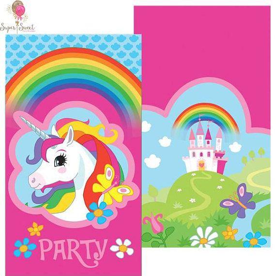 8 unicornio arco iris partido invitaciones unicornio partido