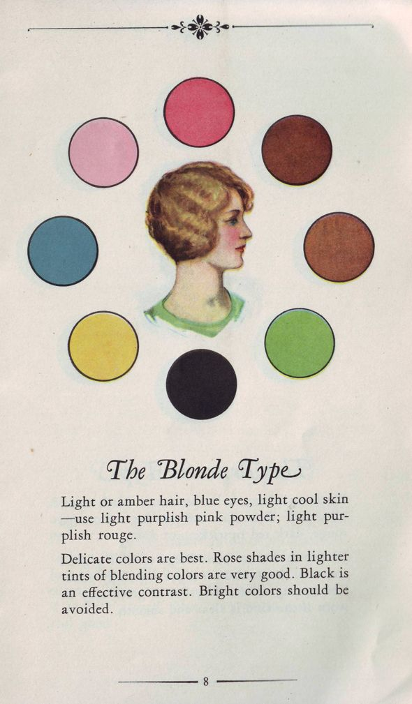 Colour palette suggestions for The Blonde Type. #vintage #makeup #fashion #hair