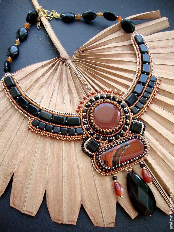 """Колье """"Вуду"""" (вышивка бисером) - разноцветный,колье с камнями,колье с агатом"""