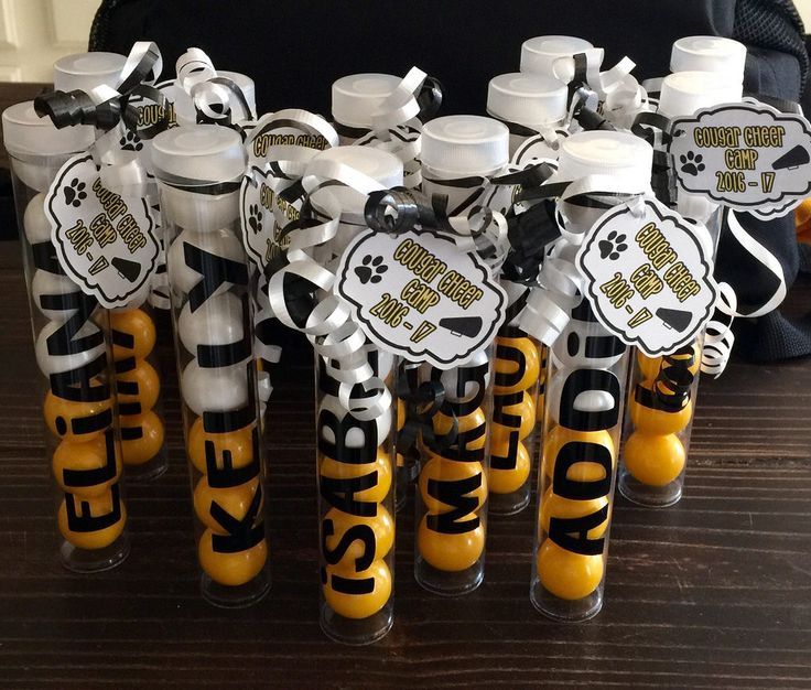 Personalized bubble gum spirit sticks for cheer camp swag bags.
