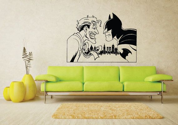 Dc comics batman vs joker comic art vinyl wall art sticker - Wall sticker ideas for living room ...