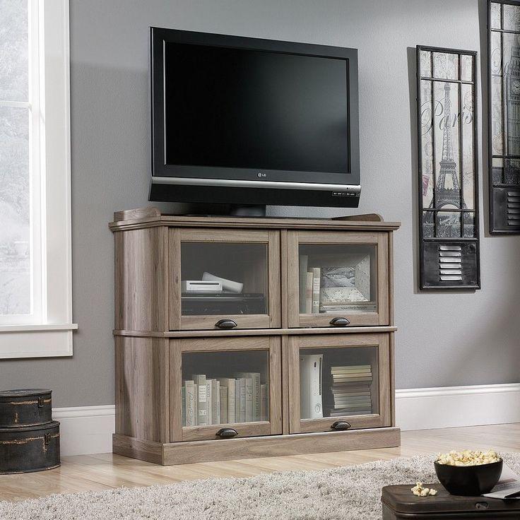 "Wood Highboy TV Stand Flat Screens 42"" Tall Entertainment Center Storage Cabinet #Sauder #Transitional"