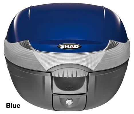 """Shad SH-33 motorcycle top case in blue. Designed to attach to most flat luggage racks. Its dimensions are: 16.5"""" L x 16.9"""" W x 12.2"""" H  and has a 33 liter capacity. Your price is $134.95. With Free Shipping."""