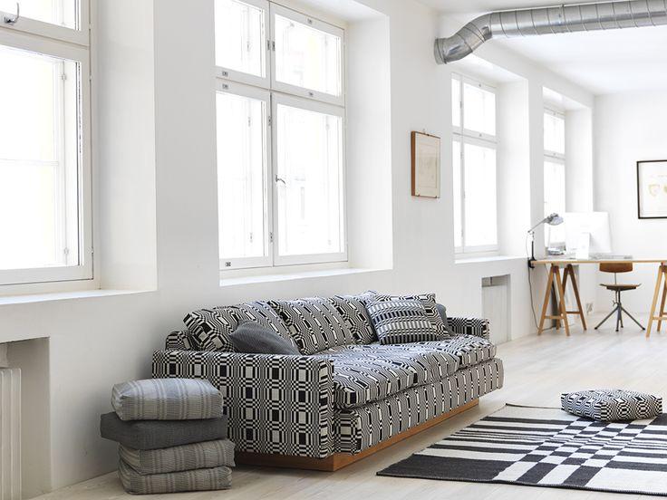 """Beautiful """"Big Ben"""" sofa upholstered with Doris black fabric."""