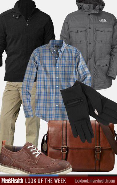 Winter Work Style - Pullover: Banana Republic; Dress shirt: J. Crew; Parka: The North Face; Chino: Polo Ralph Lauren; Brogue: Hush Puppies; Gloves: Echo; Messenger: Fossil
