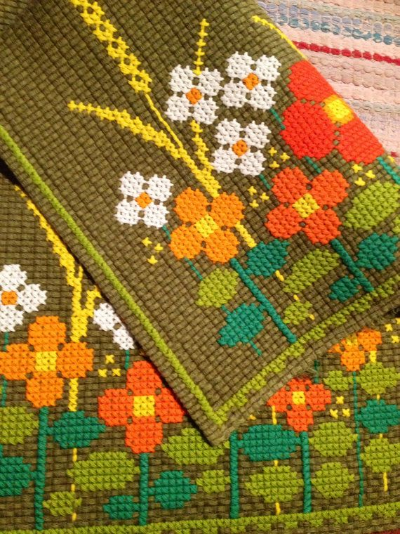 60s woven hand embroidered mid century scandi table runner with fantastic colors and great floral pattern.
