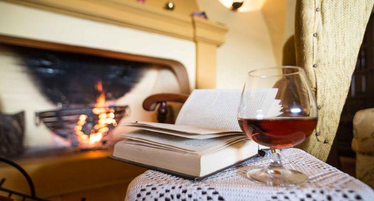 Tiempo de libros , chimenea y un buen brandy de Jerez. En Hacienda El Santiscal de Arcos de la Frontera
