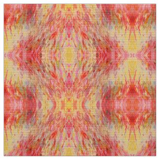 Red Pink Yellow Abstract Print Fabric