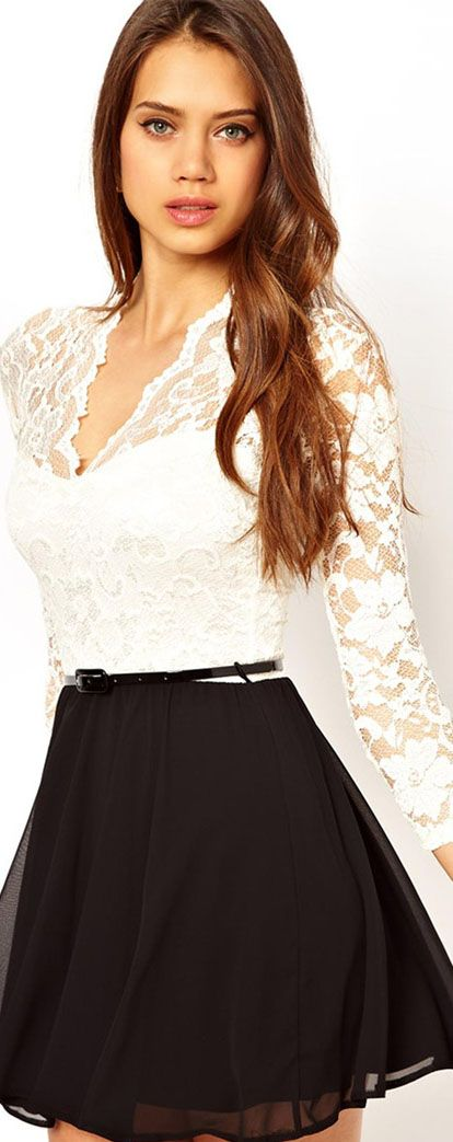 John Zack Belted Skater Dress In Lace #lace #cocktail #mini #dress <3