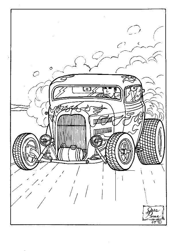 Printable Hot Rod Coloring Pages