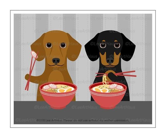 623d Food Art Prints Dachshunds Eating Ramen Bowl Wall Art