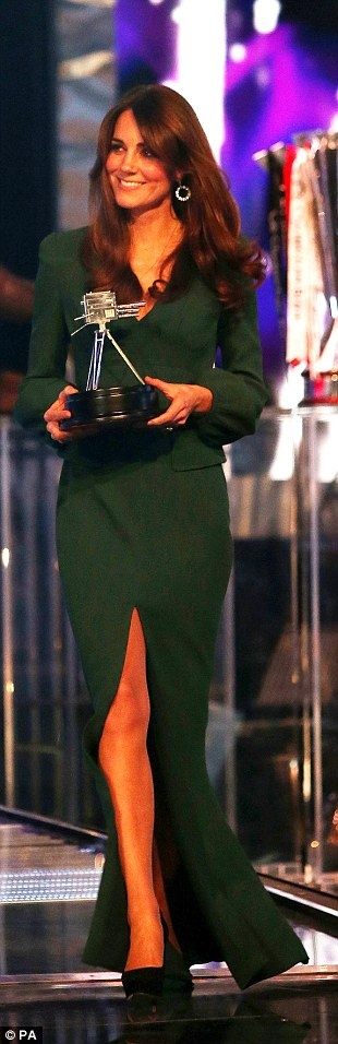 The Duchess of Cambridge wore a dazzling emerald green dress to present Lord Sebastian Coe with the Lifetime Achievement Award during the BBC Sports Personality of the Year Awards- femail Dailymail.UK