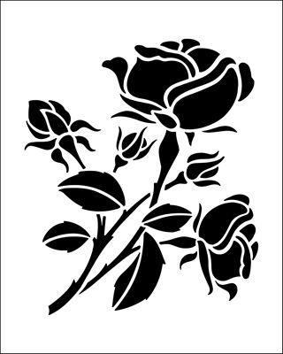 Rose stencil from The Stencil Library BUDGET STENCILS range. Buy stencils online. Stencil code SS6.
