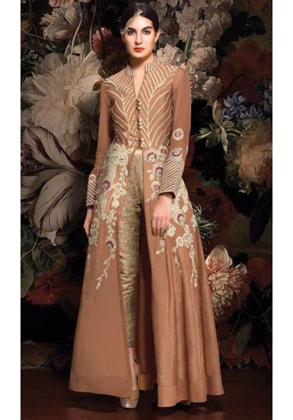 Brown and Gold Hued Floor Length Designer Anarkali Suit