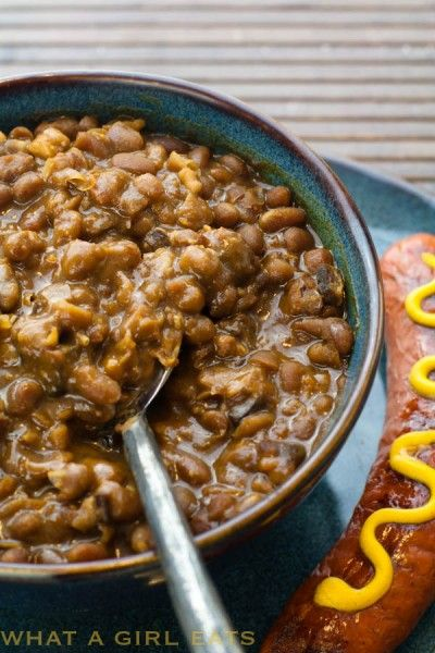 Boston Baked Beans in the slow cooker. Perfect for a backyard BBQ or ...