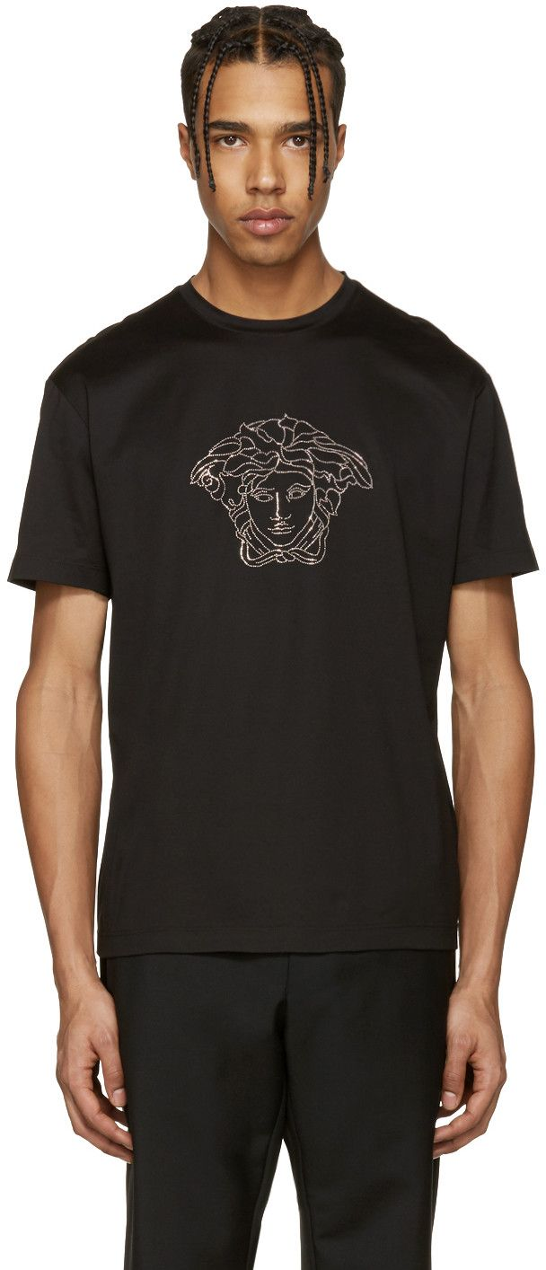 VERSACE Black Studded Medusa T-Shirt. #versace #cloth #t-shirt