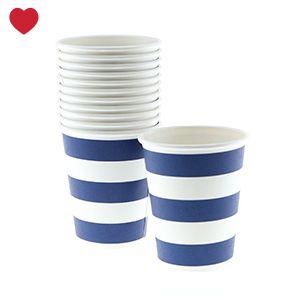 Paper cups navy blue stripes @jetjesenjobjes