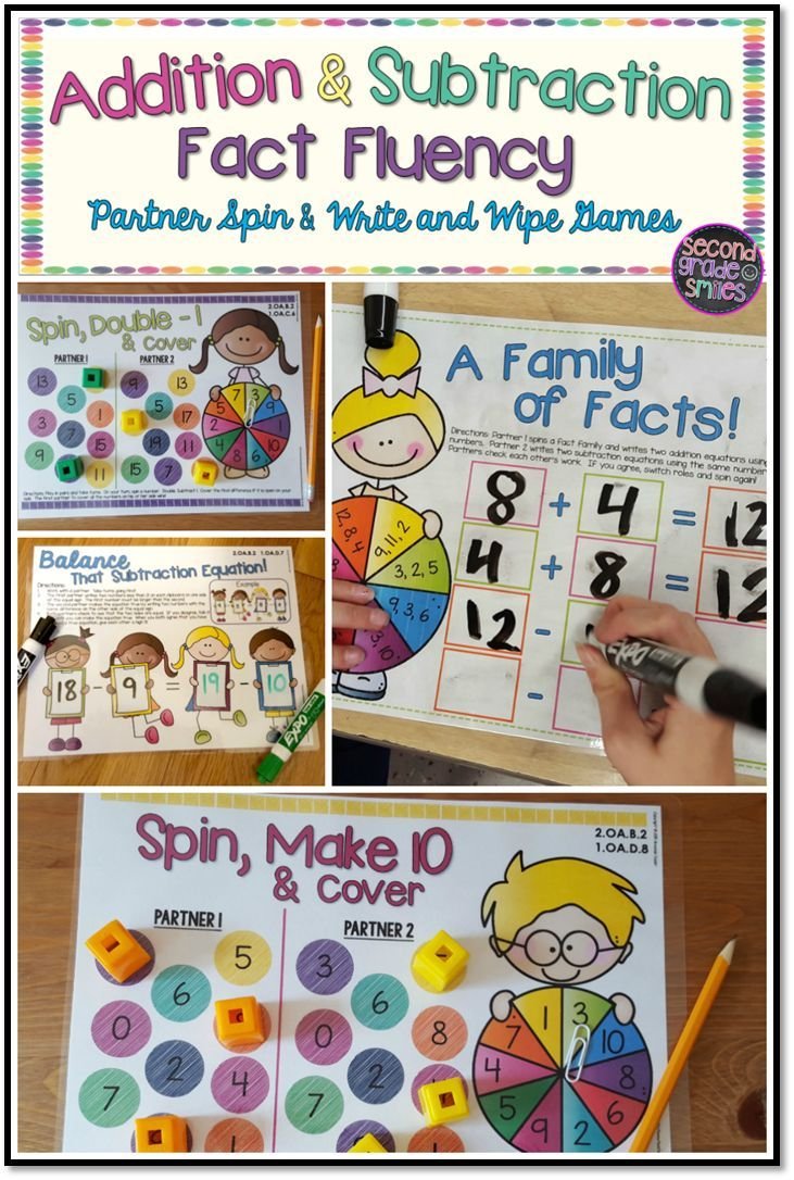 Addition and Subtraction Spin & Write and Wipe Games- includes 12 self-checking partner games for independent or guided practice! Perfect for developing fact fluency! (Color and black and white options inclulded) $