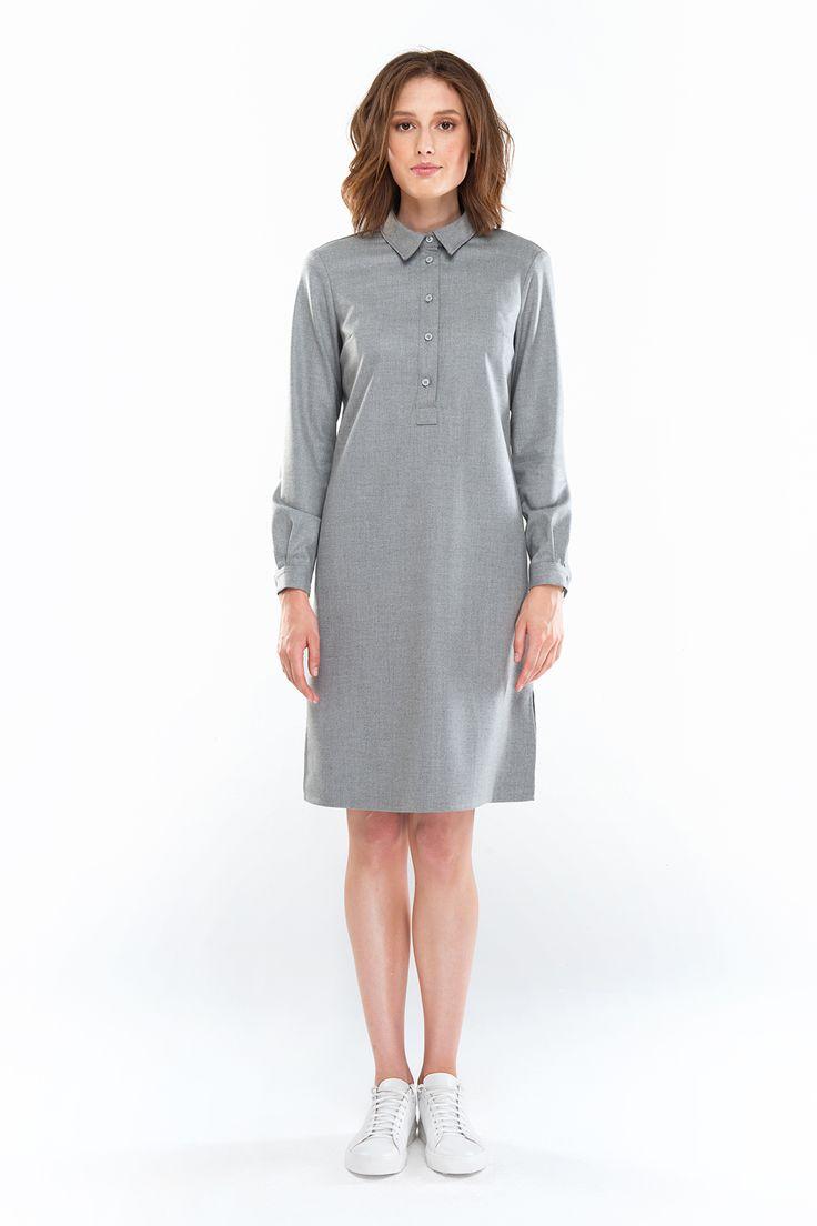 3095 Платье – рубашка серое с рубашечным верхом купить в Украине, цена в…
