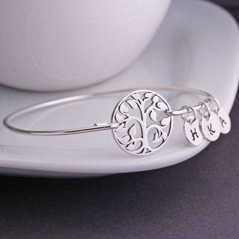 georgiedesigns - Sterling Silver Tree Bracelet, Personalized Sterling Silver Bangle Bracelet with Initial Charms