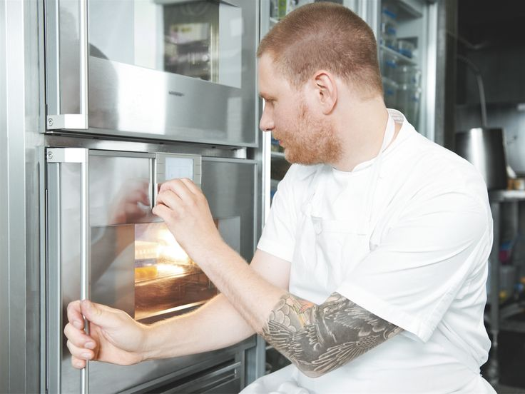 Chef Esben Holmboe Bang uses the Gaggenau combi-steam oven daily to prepare the innovative organic food at Maaemo, his three Michelin-starred restaurant. Photography by Jan-Peter Westermann.