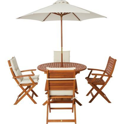 Peru 4 Seater Wooden Garden Furniture Set with Folding Armchairs