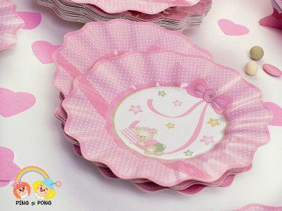 Farfurii roz cu buline albe elegante de unica folosinta