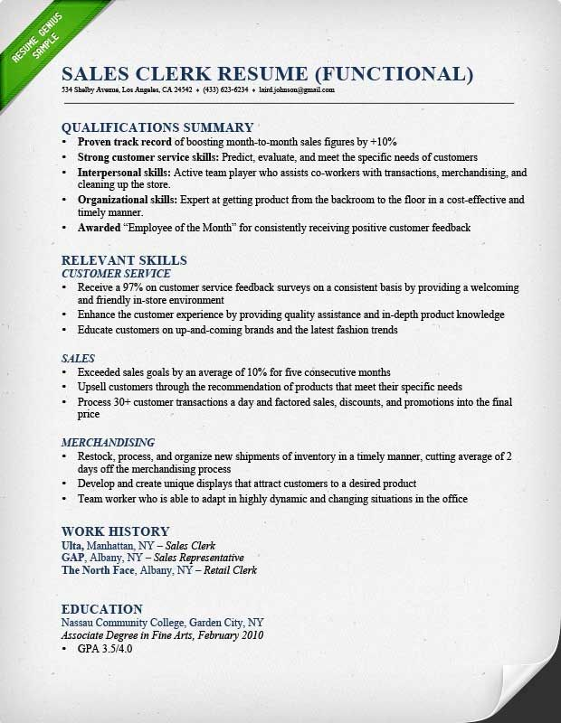 The 25+ best Functional resume samples ideas on Pinterest - resume example retail
