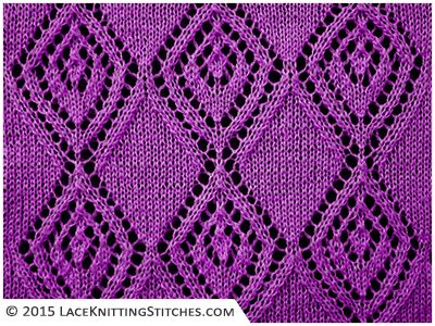 Lace knitting. Chart no.7 -  Multiple of 19 sts.