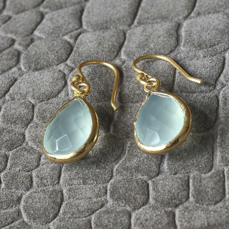 Aqua Chalcedonay Drop Earrings  £25