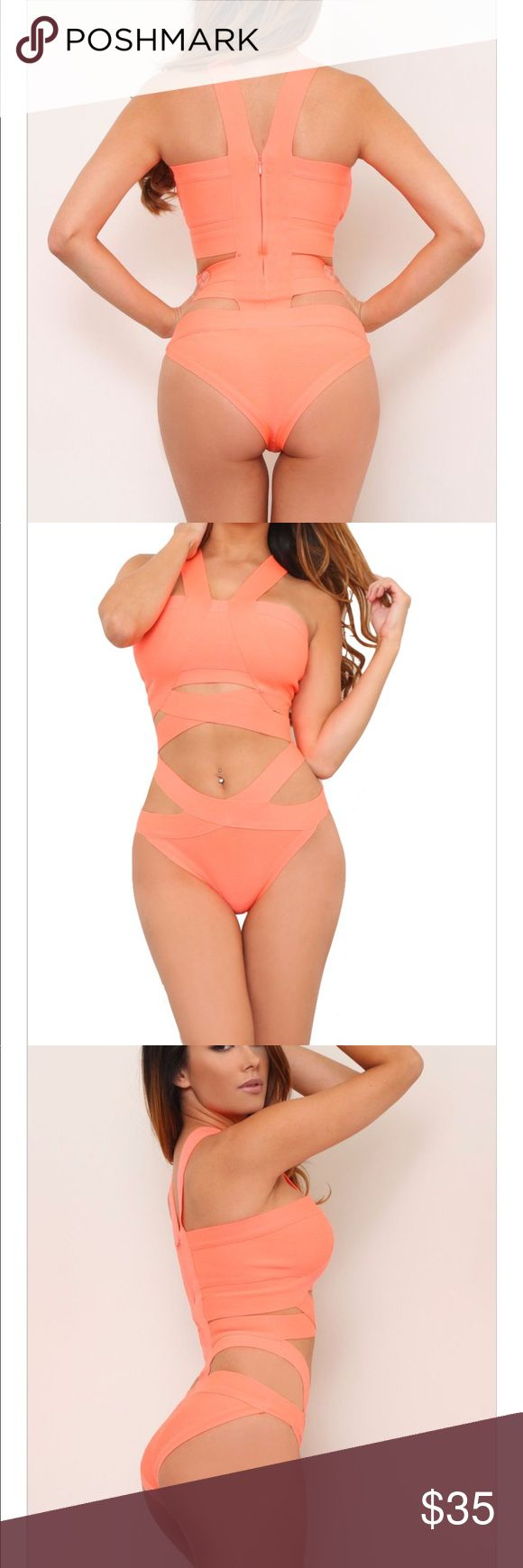 Glam Envy Bathing suit (coral) It's such a cute bathing suit has never been worn. It didn't fit me but couldn't return because all sales are final. It's a size small and has a zipper in the back so it's really supported. Swim One Pieces