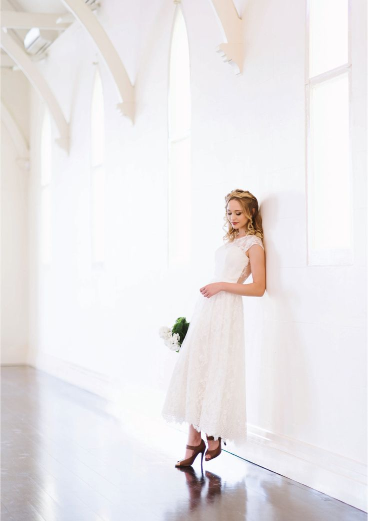 Zoe - Tea length Chantilly lace gown